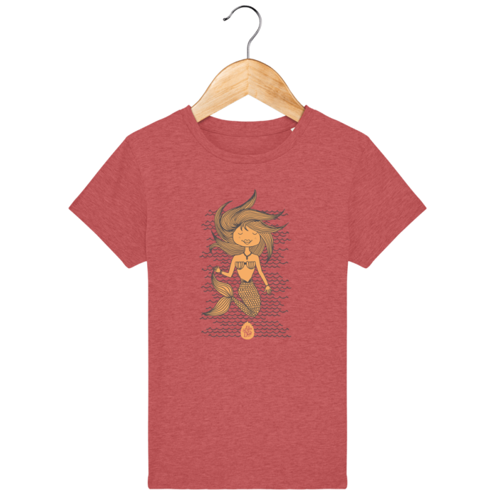 Tee Shirt fille Bio Messanges rouge chiné